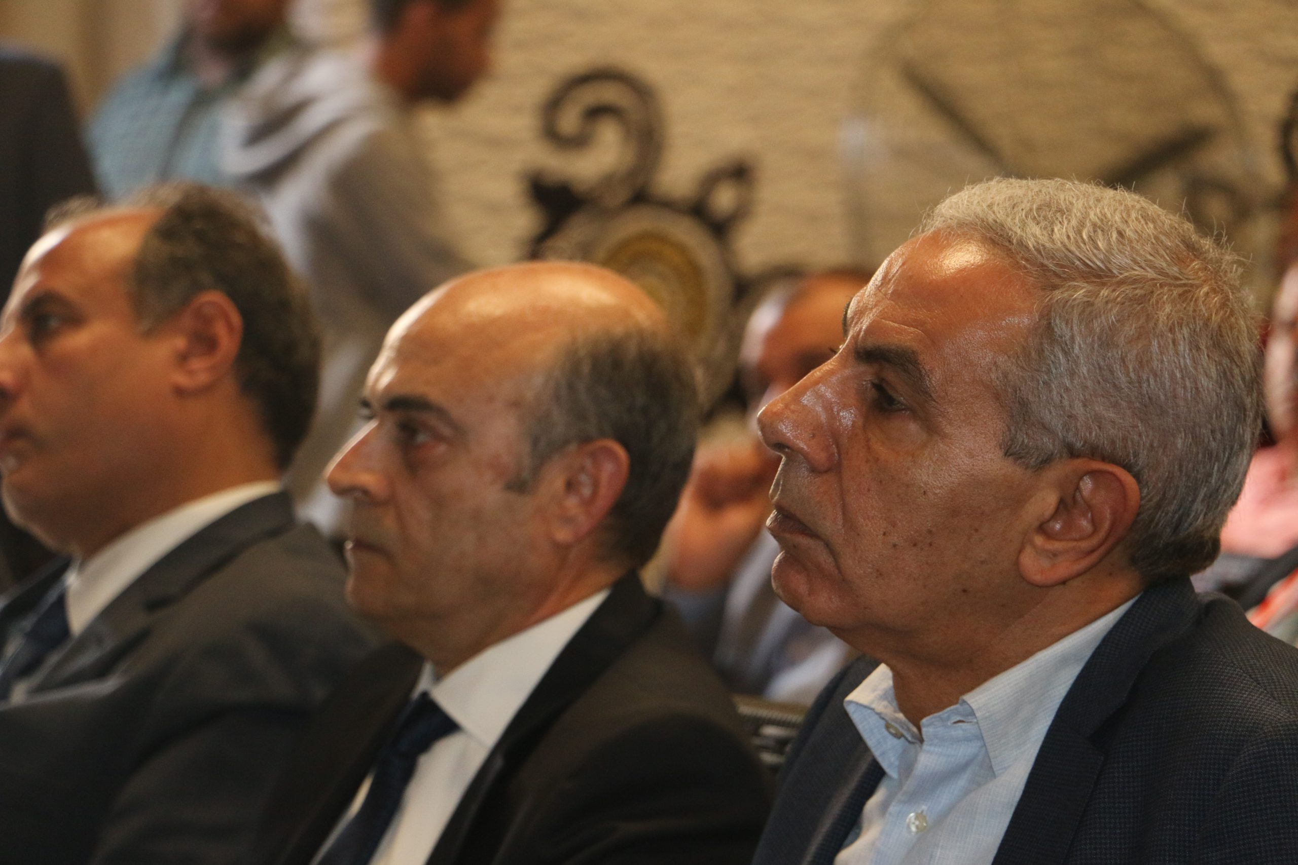 Consulting Arch. Magdy Mukhtar El-Taher and Eng. Tariq Qabil, former Minister of Industry, and Eng. Muhammad Sultan, former Governor of Alexandri
